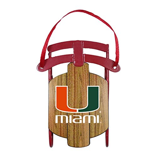 NCAA Miami Hurricanes Metal Sled Ornament (Miami Hurricanes Slides compare prices)