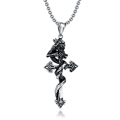 Jewelry Vintage Stainless Steel Men's Gothic Dragon Wrapped Cross Necklace Pendant Silver Black with Chain