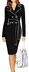 LUNAJANY Women's Casual Notched Lapel Wear to Work Belted Office Pencil Dress