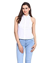 Solid White Cotton Embroidered Top Large