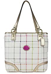 Coach Heritage Tattersall Coated Canvas Tote Bag Multicolor Gold 19174