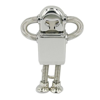 HDE 8GB Silver Chrome Robot High Speed USB Flash Thumb Drive Memory Stick