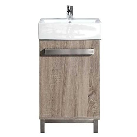 18 X 12 Bathroom Vanity In Taupe Wood Grain Finish With White Vitreous China