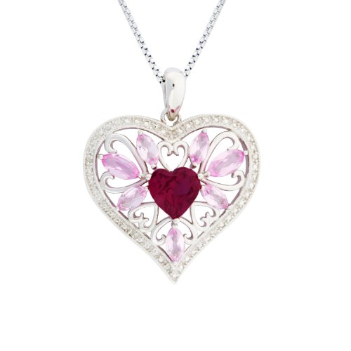 Sterling Silver Created Pink Sapphire, Created Ruby and Diamond Pendant Necklace , 18