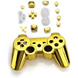 FACILLA® Golden Controller Shell Replacement Case Housing with Buttons for PS3