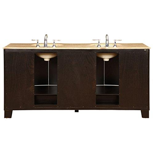 silkroad exclusive countertop travertine stone double sink bathroom