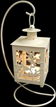 Cream Hanging Floral Tealight Lantern by White Candle Company