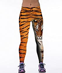 iSweven Tiger Design Printed Polyester Multicolor Yoga pant Tight legging for womens girls