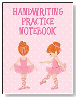 Handwriting Practice Notebook For Girls - A cute little redheaded ballerina against a mostly pink background graces the cover of this handwriting practice notebook for younger girls.
