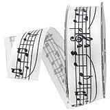 "7/8"" White & Black Musical Notes Satin Ribbon"