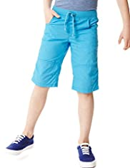 Pure Cotton Pull On Ribbed Waistband Shorts