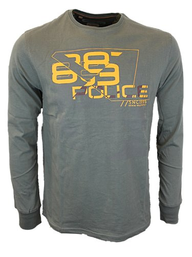 New Mens Pewter Police 883 Jeans ELA Designer Long Sleeve T-Shirt Top Size L
