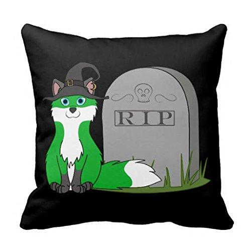 White Green Fox With Rip Grave Stone Throw Pillow Case (Gravestone Sayings)