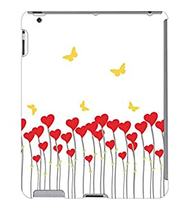 Fuson 3D Printed Butterfly Hearts Designer Back Case Cover for Apple iPad 2 - D981