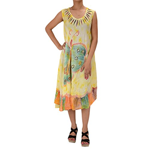 Skirts & Scarves Rayon Butterfly Caftan Tie N Dye Embroidered Sleeveless Dress For Women (Lemon)