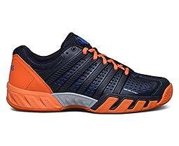 K-Swiss Men\'s Bigshot Light 2.5 Tennis Shoe-Black/Vibrant Orange/Electric Blue/Synthetic Leather-9
