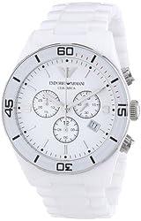 Emporio Armani Women's AR1424 Ceramic White Dial Chronograph Watch