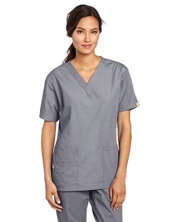 WonderWink Women's Scrubs Bravo 5 Pocket V-Neck Top, Pewter, XX-Small