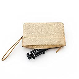 [GF] Selfie Stick And Custom Clutch Purse With Hidden Pocket for Selfie Stick (Gold)