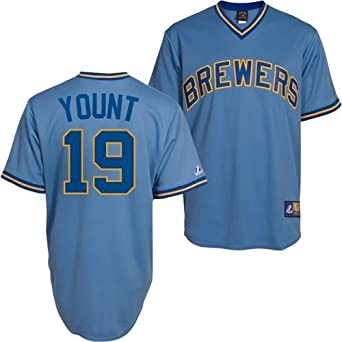 Mens Yount of Brewers RC Synthetic Replica Baseball Jersey,Columbia Blue by Majestic Athletic
