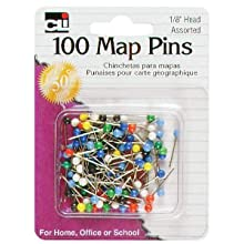 Charles Leonard Pins - Map - 1/8&#034; Head - 100/Card, 21118