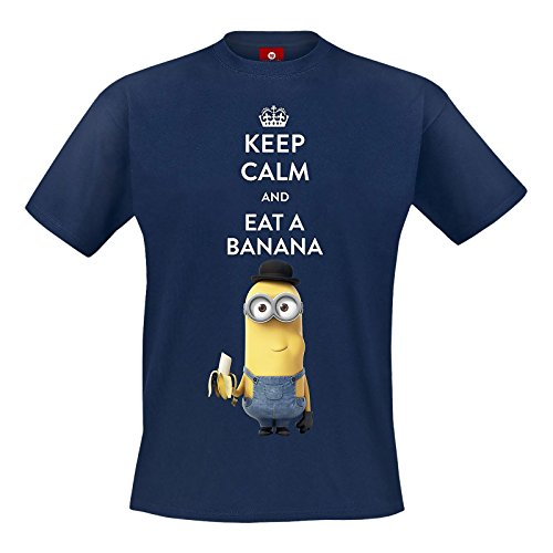 Minions Keep Calm And Eat A Banana T-Shirt blu navy XXL