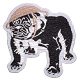 USMC Marine Corps Military Embroidered Iron On Patch - Black Bulldog w/ Helmet Applique