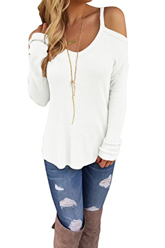 OUR WINGS Women White Cold Shoulder Knit Long Sleeves Sweater L