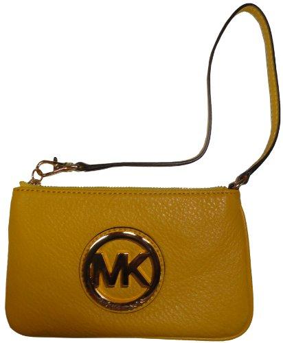 Women'S Michael Kors Fulton Leather Wristlet Citrus