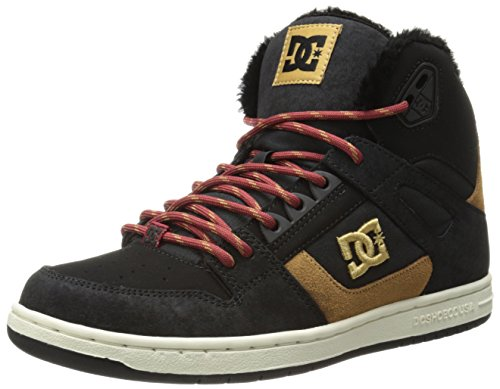 DC Women's Rebound High WNT Skate Shoe,Black/Camel,10 B US