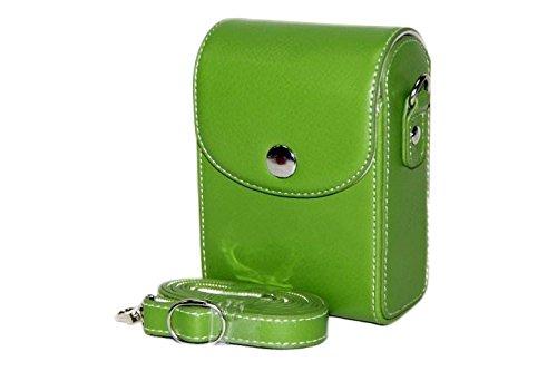MoreGift4U Schutz PU-Leder Kamera-Schulter-Rucksack Reisen Rucksack-Tasche Tasche Hülle für Samsung WB800F WB201F WB200F WB280F WB150 / F Green + Kostenlose Schulter-Halsband Gürtel