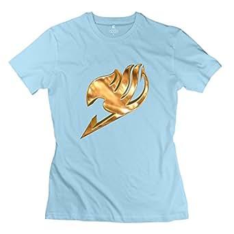 100% Cotton Simbolos Gremios Fairy Tail T-shirt For Lady SkyBlue XXL