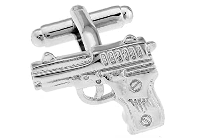 Pistol Handgun Cufflinks with a Presentation Gift Box