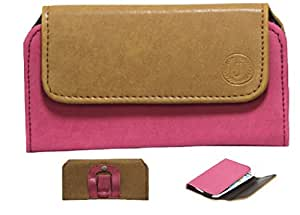 Jo Jo A4 Nillofer Belt Case Mobile Leather Carry Pouch Holder Cover Clip For Spice Mi-505 Stellar Horizon Pro Tan Pink