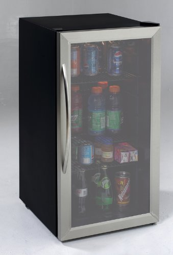 Sale!! Avanti 3.1 Cubic Foot Beverage Cooler / Sylish Black Cabinet With Stainess Steel Framed Doubl...