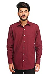 Snoby maroon plain cotton shirt SBY8077