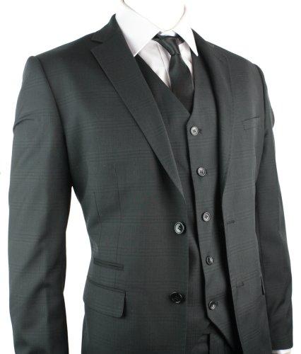 Mens Suit Black Check Design 3 Piece Work Party Wedding Suit UK Regular Fit