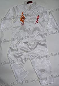 Kid's Chinese Dragon Kung Fu Shirt Pants Set White Available Sizes: 6M, 3T, 4, 6, 8, 10
