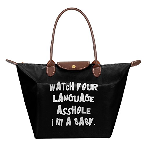 watch-your-language-asshole-im-a-baby-foldable-large-tote-shopping-bags