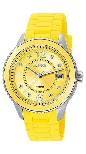 Espresso ES105342011 - Reloj de cuarzo para mujer, correa de silicona color amarillo