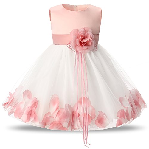 NNJXD Girl Tutu Flower Petals Bow Bridal Dress for Toddler Girl Size 4-9 Months Pink