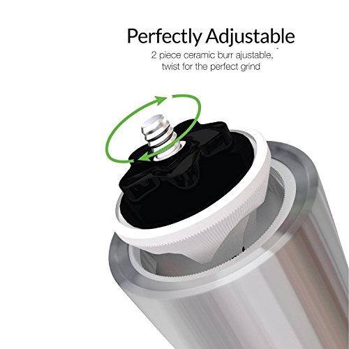 [Manual Coffee Grinder ] I2crazy® Most Consistent Manual Coffee Grinder with Adjustable Ceramic Burr and Quality Stainless Steel Aeropress Compatible - Easy to Operate for French Press and Espresso