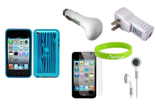 Charger Screen Protector with Blue Case for New Apple iPod Touch 4G