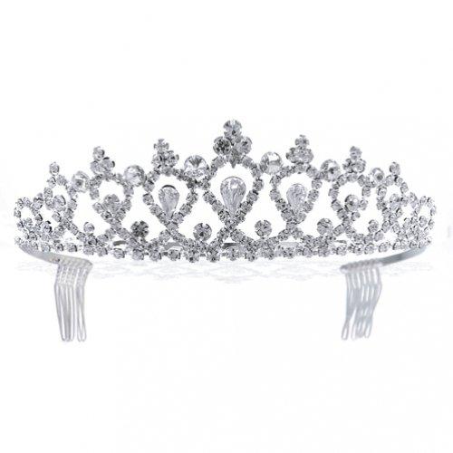Bling Jewelry Wedding Tiara Victorian Teardrop Rhinestone Bridal Hair Accessory