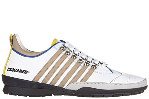 Dsquared2 Herrenschuhe Herren Leder Schuhe Sneakers 251 Weiß EU 43 W16SN131912M979 thumbnail