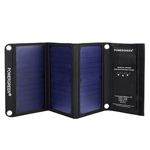 PowerGreen® 21W Portable Folding Solar Charger with Dual USB Port Sunpower Solar Panels for all 5V Digital Mobile Devices (Black)
