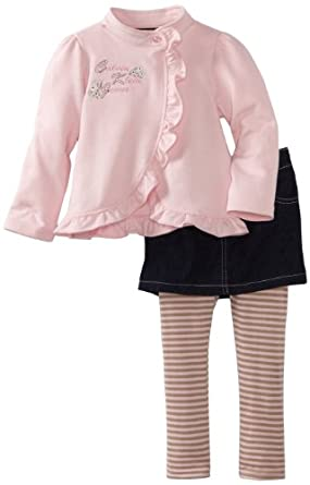 Calvin Klein Girls 2-6X Jacket With Denim Skegging, Pink, 2T