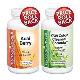 Botanic Choice Acai Berry Extract and #739 Colon Cleanse Set Detox and Lose Weight