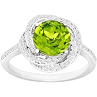 2 3/8 ct Peridot & White Sapphire Ring - Sterling Silver