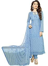 Rozdeal Designer Periwinkle Blue Chiffon Dress Material